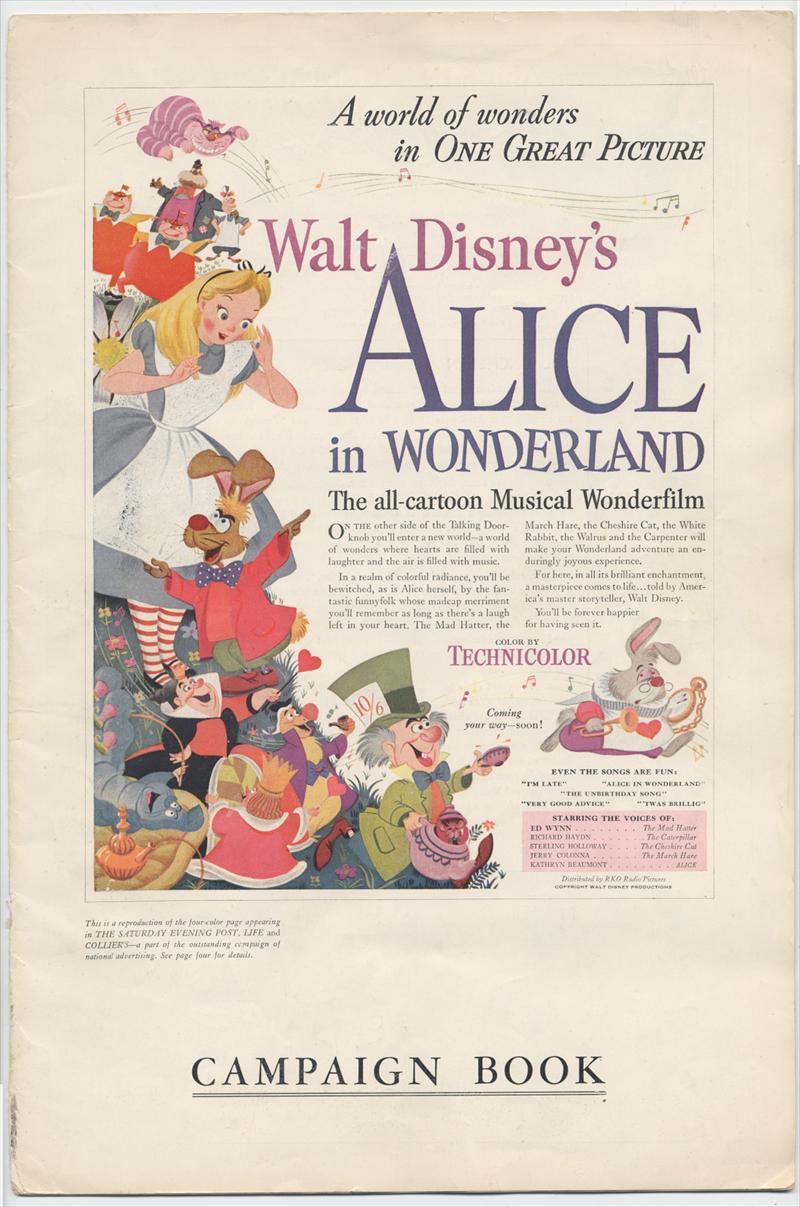 ... : Disney ALICE IN WONDERLAND Original Release Exhibitor's Book, 1951