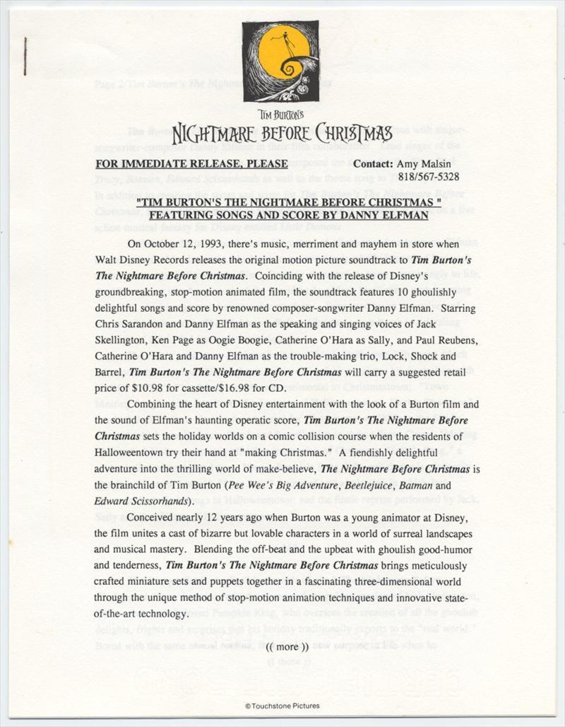 auction.howardlowery.com: Walt Disney Records NIGHTMARE BEFORE ...