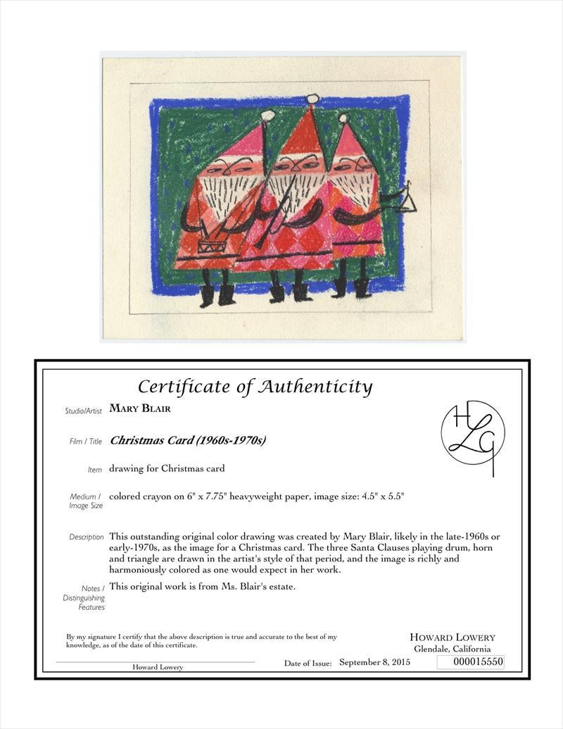 Auctionardlowery Original Color Christmas Card Drawing Of