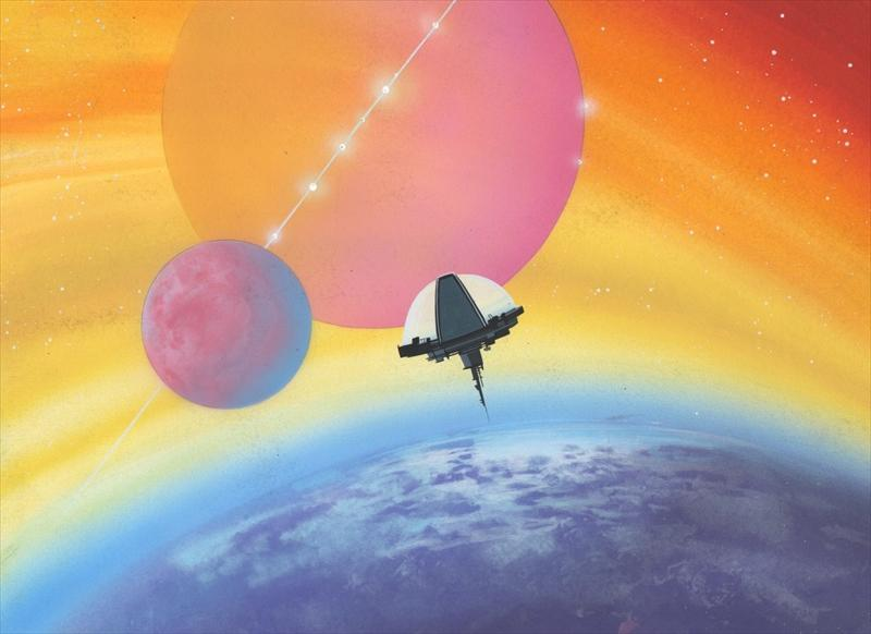 Original animation background for Outer space scene