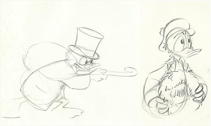 Auction Howardlowery Com 2 Disney Mickey S Christmas Carol Animation Drawings Of Scrooge Mcduck Donald Duck 1983